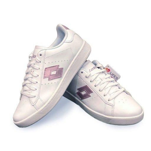 Scarpe lotto donna bianco logo rosa