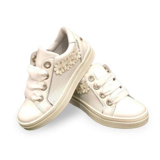 scarpe melania bambina bianca fiori
