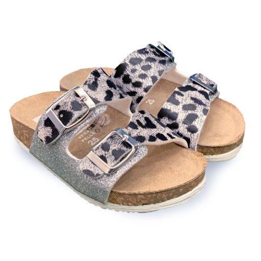 ciabatta bambina leopardato grigio made in italy