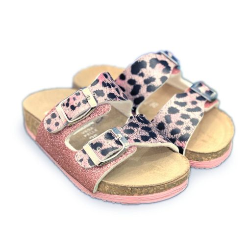 MADE IN ITALY Ciabatta bambina leopardato rosa