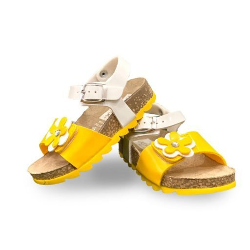 Sandaletto bambina bianco e giallo
