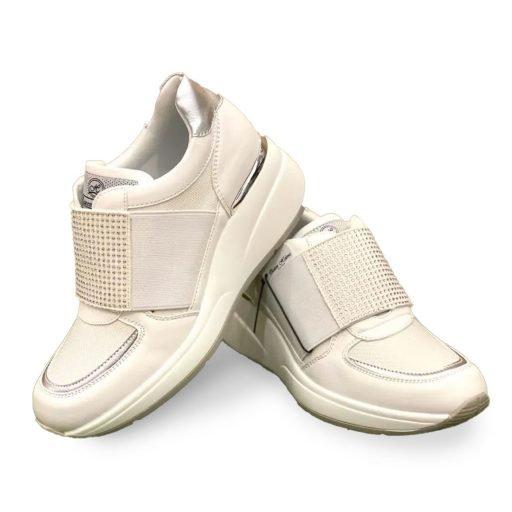 QUEEN HELENA scarpe donna bianche strappo