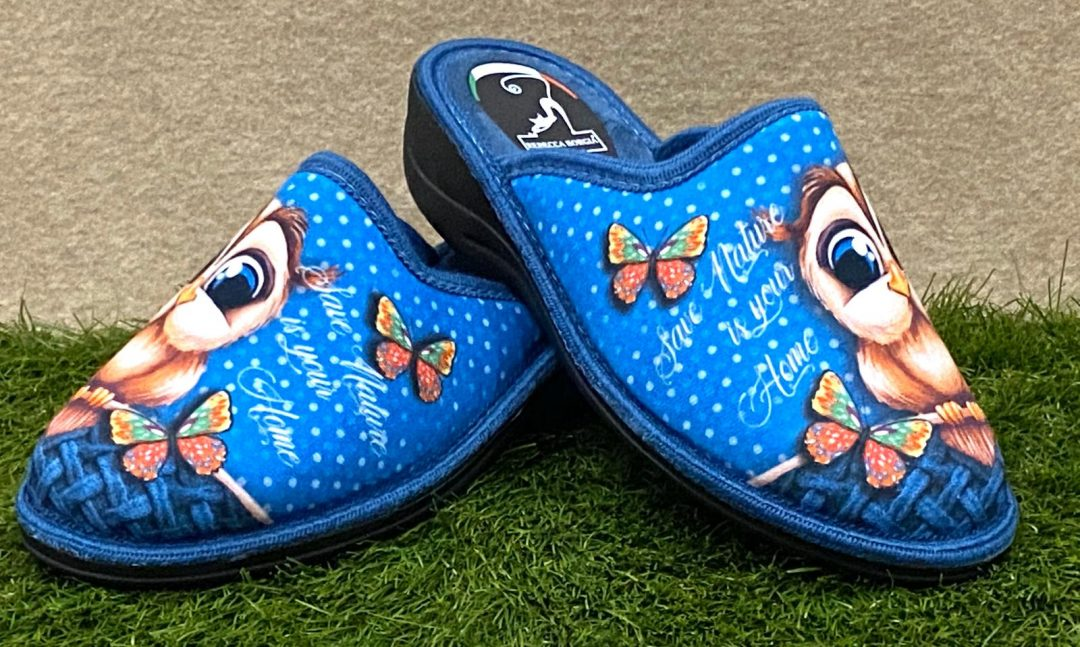 Pantofola gufo blu 2