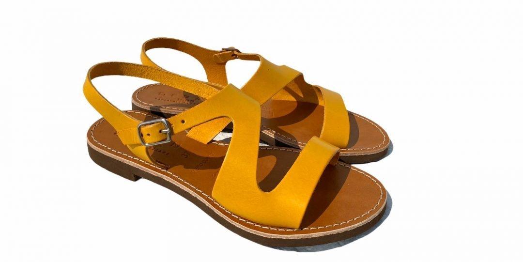 Deran 1888 cuoietto salentino sandalo giallo 2